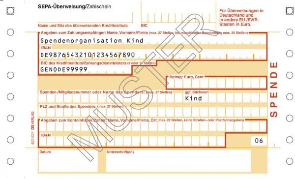 SEPA-Spendenzahlschein einzel, 2-tlg., beidseitiger Abrissrand, mit BE