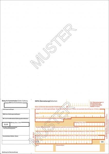 SEPA-Überweisung/Zahlschein einzel, DIN A4, 1tlg. neutral, Quittung links
