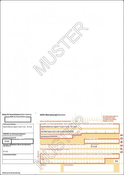 SEPA-Spendenzahlschein einzel, DIN A4, 1tlg. neutral, Quittung links