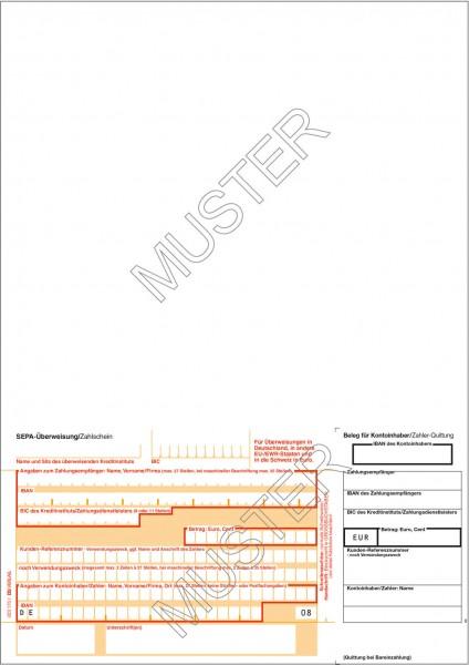 Übeweisung/Zahlschein einzeln DIN A4, 1-teilig, Quittung rechts