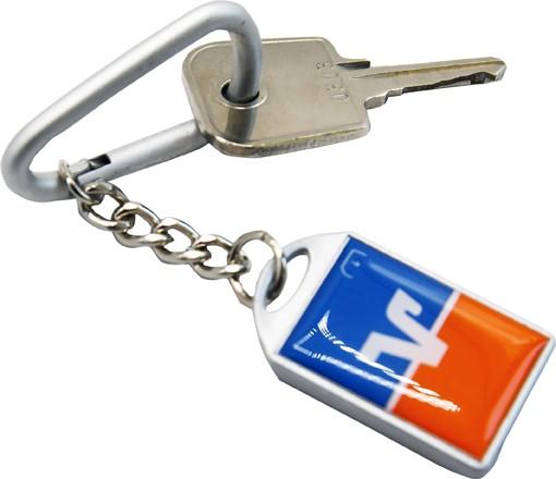Schlüsselanhänger blau / orange mit Bezahlfunktion