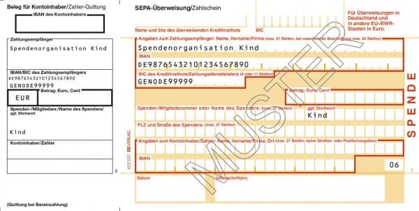 SEPA-Spendenzahlschein mit Zahler-Quittung links und Quittungsbeleg einzel