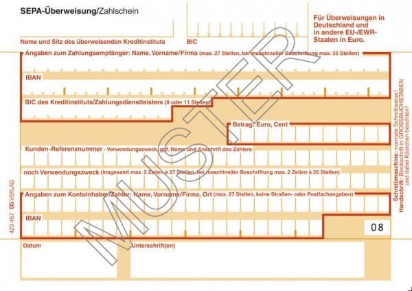 SEPA-Überweisung/Zahlschein Einzel, 1-tlg.