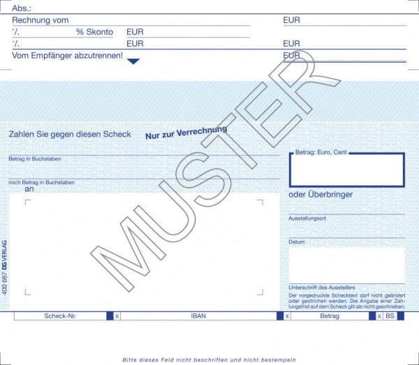 SEPA-Verrechnungsscheck mit Anschriftfeld und Kopftalon, online 4 1/6 Zoll x 5 9/10 Zoll+2,4 cm Kopf